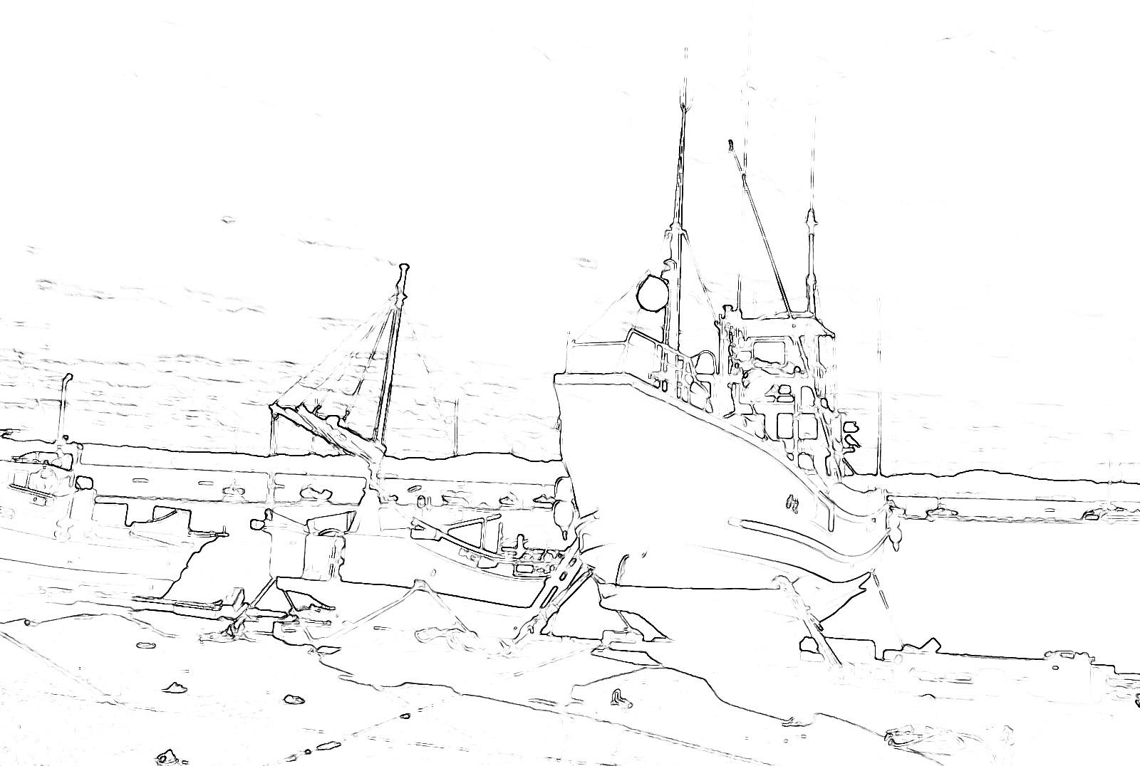 コピックアート_陸揚げされた漁船